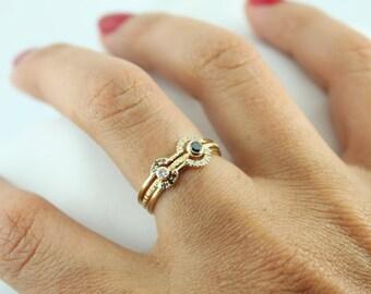 Diamond Ring - Black Diamond Ring - Gold Diamond Ring - Pave Diamond Ring - Diamond Engagement Ring