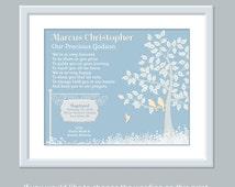 Godson Christening Gift - Godson Baptism Gift - Personalized Godson Print - Baptism Keepsake - Baptism Gift Christening