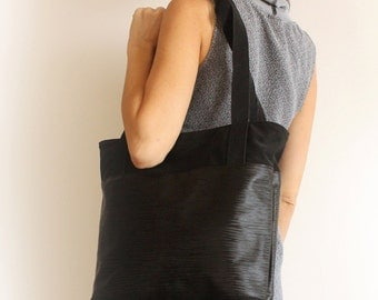 Black Tote Bag - Women Tote /  Black Tote Bag With Zipper - Vegan Handbag / Black Handbag