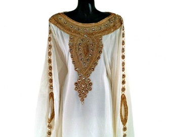Amira Abaya Caftan, Gold Embellished Kaftan Dress, Kaftan Maxi Dress, Dubai Kaftan, Gold Beaded Wedding Evening Gown, Plus Size, S-4XL