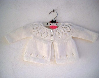 Jasmine Cardi - Knitting Pattern - Baby girl to age 6 cardigan - Instant Download PDF
