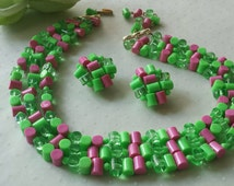 Hot Colors Plastic Necklace Clip Earrings West Germany Colorful Vintage Pink Green Beads 1960s