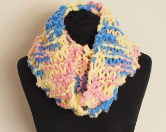 HoeBow Thick Knit Multicolour Pastel Cowl Scarf