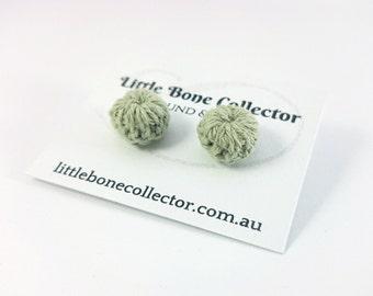 Moss Green crochet button earrings, Surgical steel studs - Glue free