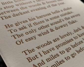 """Hand Typeset - Letterpress Robert Frost Poem """"Stopping by Woods on a Snowy Evening"""""""