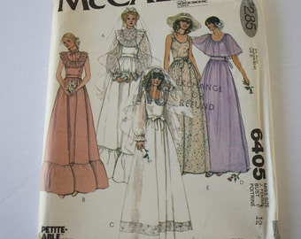 Bridal Gown Pattern, Wedding Dress Sewing Pattern, Bridesmaid Dress, Ruffles, Boho, Vintage 1970s, UNCUT McCalls 6405