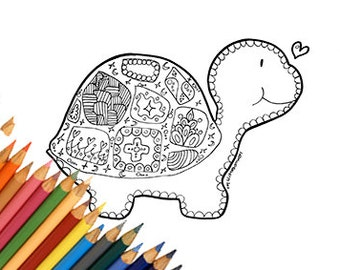 turtle coloring page coloring page for kids coloring page for children turtle print - Turtle Coloring Pages