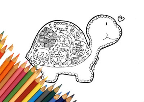 Tartaruga da colorare stampabile bambini adulti mandala doodle for Mandala da colorare con animali