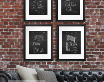 Winter sports decor, Ice Hockey Patent Prints Set Of 4 - Winter Sport Poster, Ice Hockey Decor,  Gift for Hockey Player Fan, Hockey poster