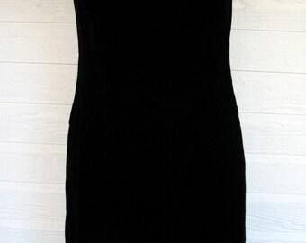 Vintage Dress LBD Velvet Leslie Fay Ruched Bodice 1970s