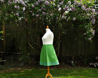 Green Floral Skirt, Embroidered Skirt, Cotton Skirt, Knee Length Skirt, Forget Me Not, Vintage Style Skirt, Womens Skirts, Ladies Skirts.