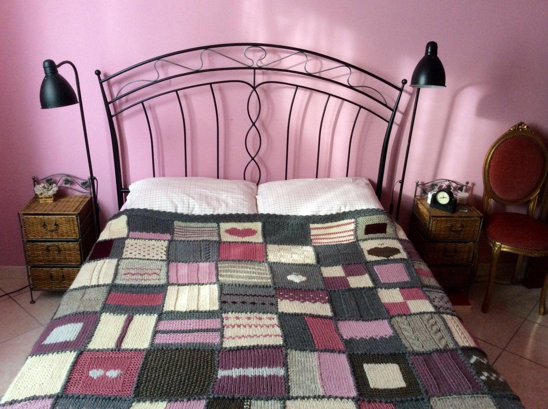 Coperta matrimoniale a maglia di lana pura non tinta per letto - Coperte per letto matrimoniale ...