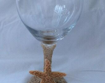 Wine Glass with sand stem, base and sugar starfish or flat starfish