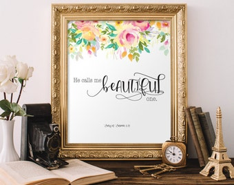 Bible Verse Wall Art, Girls Room Print He calls me beautiful one, Nursery Print, Floral Print, Wall Art, Bible Verse Nursery Scripture Print