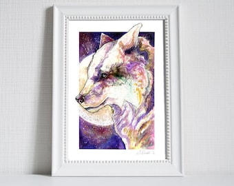 Water Colour White Wolf Print