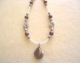 White & Golden Brown Flower Necklace With Natural Tiger's Eye, Sterling Silver