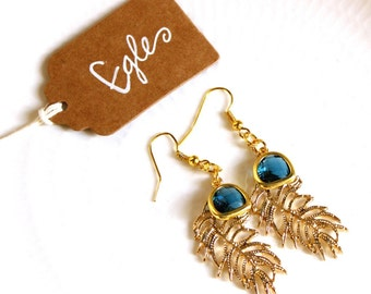 EGLE-feather earrings and Blue Crystal Teardrop