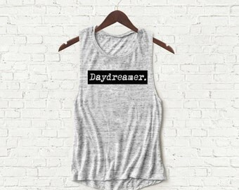 Daydreamer - Womens Muscle Tank - Gray