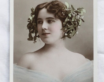 Tinted Real Photo Postcard (RPPC) featuring the beautiful Mme Ricotti with mistletoe in her hair, not circulated, unwritten, EPR
