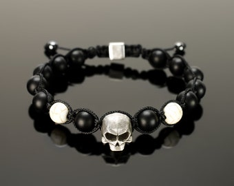 Black onyx bracelet - Black onyx jewelry for men. With microcord, 10 mm black onyx beads and big 15 mm skull!