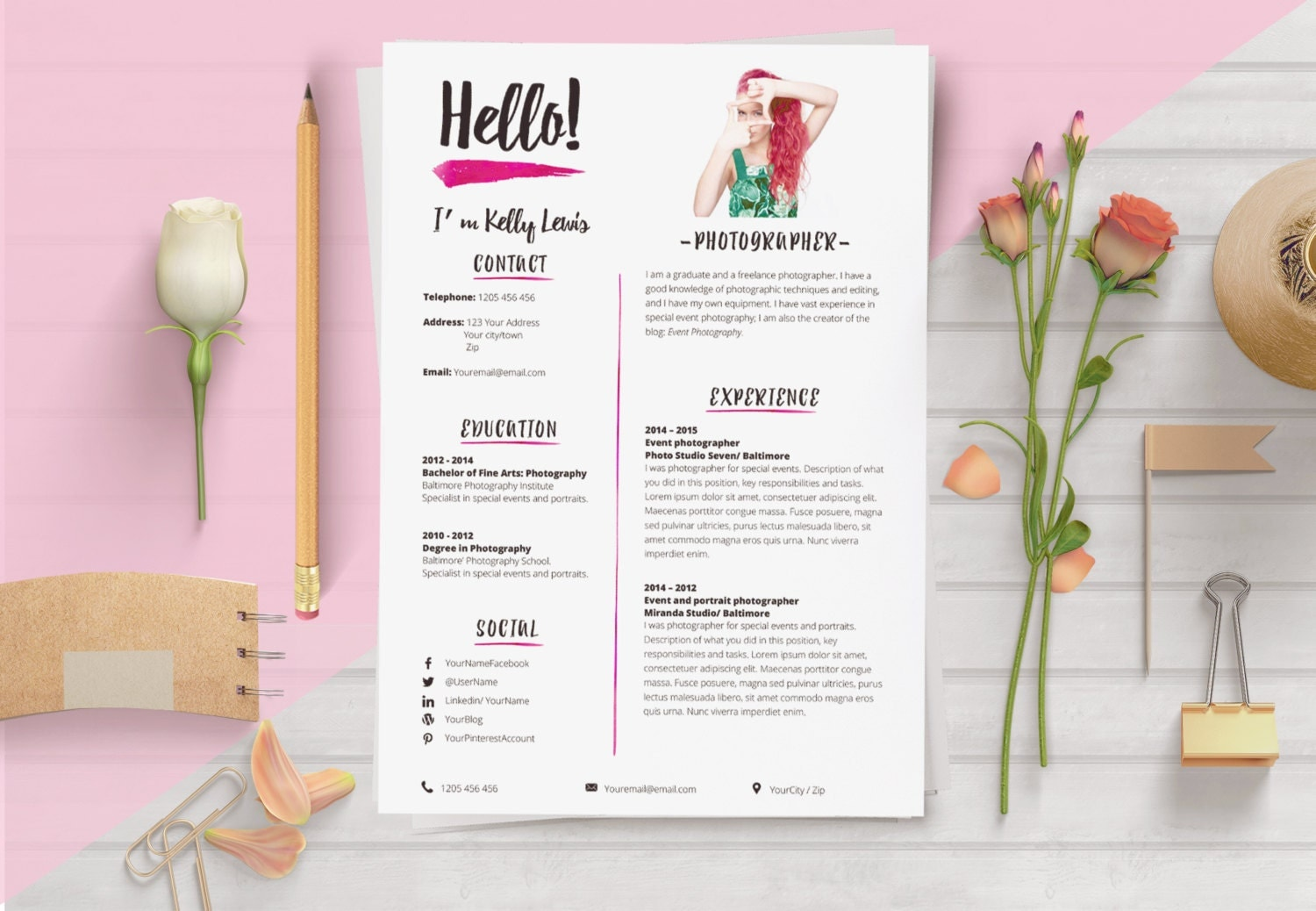 Elegant Resume Template 2 Pages Resume Cover Letter 1