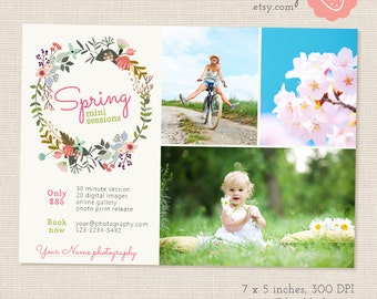 Spring Mini Session Template, Easter Mini Sessions, Marketing Board, Photoshop Template, Photography Marketing Set, Kit, PSD template, Flyer