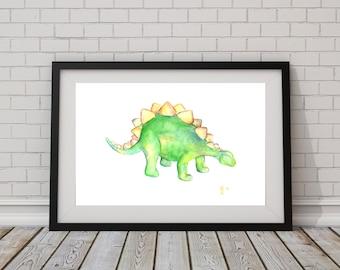 Dinosaur Stegosaurus Art Hand Painted, Custom Original 9 x 12 or 11 x 15