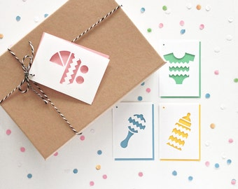 Baby Shower Gift tags - Set of 4, Baby Bottle, Baby Pram, Baby Onesie, Baby Rattle, Baby Announcement, Baby Shower Gift Card, Swing Tags