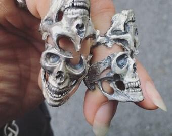 Half skull ring L&H set