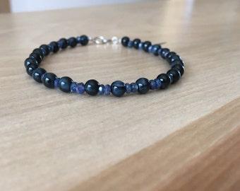 Blue tigers eye, sapphire bracelet, Hawks eye bracelet, sapphire jewelry, genuine sapphire,14k white gold, unique gift, edgy jewelry