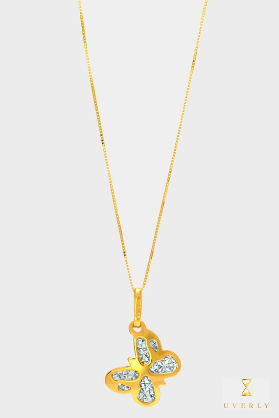 14k Solid Yellow Gold CZ Womens Summer Butterfly Charm Pendant Chain Necklace