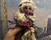 Suggar skull with miniature teddy bear, Bohemian doll, Cottage decor, Romantic Home Decor, Tattered Lace