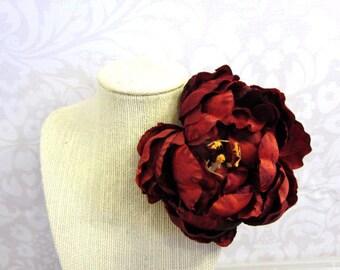 Peony Hair Clip, Peony Barrette, Flower Hair Clip,Bridal Accessories,Burgundy Flower Hair Clip