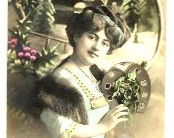 1914 - WOMAN, Lucky  HORSESHOE, Winter LANDSCCAPE -Art Nouveau  French real coloured  Photo Postcard, portrait, landscape,snow, luck,charm