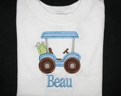Custom Personalized Applique Gingham GOLF CART and NAME Bodysuit or Shirt - Blue, Lime Green, and Brown