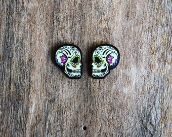 Calaveras Face to Face - Ashes - Male Day of the Dead Sugar Skull Profile Post Earrings