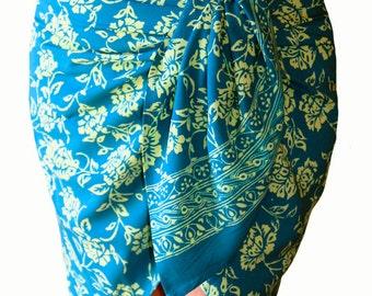 Blue Hawaiian Short Beach Sarong Wrap Skirt Women's Clothing Batik Sarong Half Sarong - Blue Mini Beach Cover Up - Flowers Short Skirt