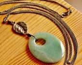 SALE Jade pendant necklace, jade necklace, gemstone necklace, long earthy necklace, green necklace, natural stone necklace, jade jewelry