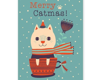 Merry Catmas! Christmas Card - Single Card - I like Cats - Funny Greeting Card - Holiday Cards