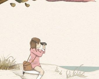 Suzy, Moonrise Kingdom Pastel Print