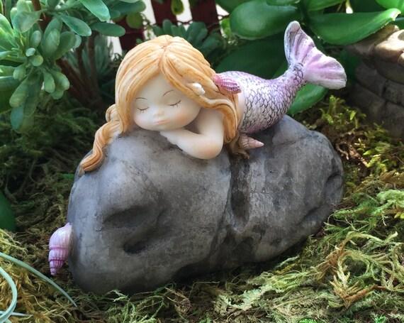 Beautiful Little Mermaid Sleeping on Rock Figurine, Style 4465, Whimsical Miniature Garden, Fairy Garden Accessory Style 4465