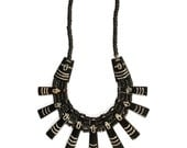Tribal Spike Bib Necklace - Large WOOD and BONE Beaded Necklace - Vintage Ethnic Statement Jewelry - Big AFRICAN Collar - Black White Brown
