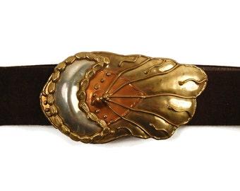 Crescent MOON and SUN Belt Buckle - Mixed Metal Brutalist Statement Belt - Adjustable - Brass Silver Copper Suede - Festival Belt - Vintage