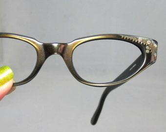 Vintage 50s - 60s Eyeglasses Bronze on Black Cat Eyes with Rhinestones