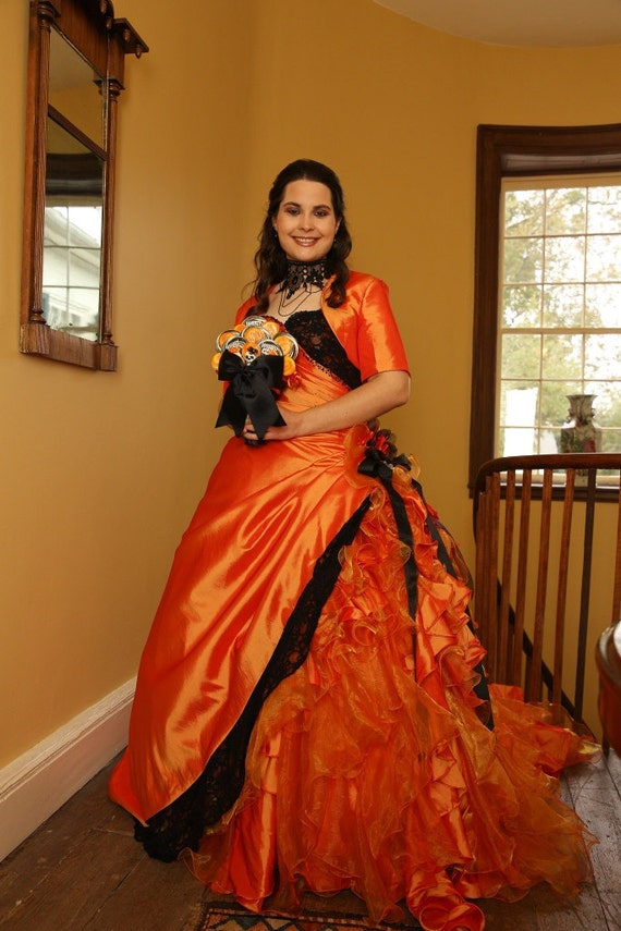Halloween orange and black wedding dress bridal gown for Black and orange wedding dresses