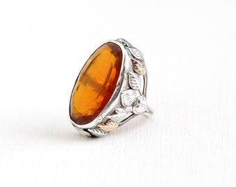 Sale- Antique Arts & Crafts Sterling Silver 10k Gold Simulated Citrine Ring - Size 5 1/2 Vintage 1910s Art Nouveau Orange Glass Leaf Jewelry