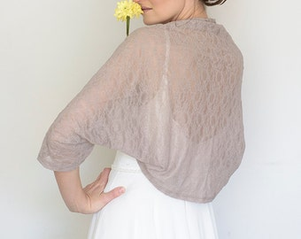 Evening shawl and wrap, taupe bridesmaid shrug, autumn wedding, mother of the bride shrug, taupe shrug, bridesmaid shrug