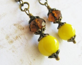 Yellow earrings, jewelry, yellow dangles, yellow jewelry, rustic wedding jewelry, gift for her, Europe