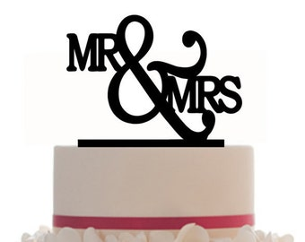Custom Wedding Cake Topper Mr & Mrs with choice of color and a FREE base for display