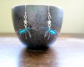Tiger Beetle Earrings - Hand Drawn Shrink Plastic and Sterling Silver